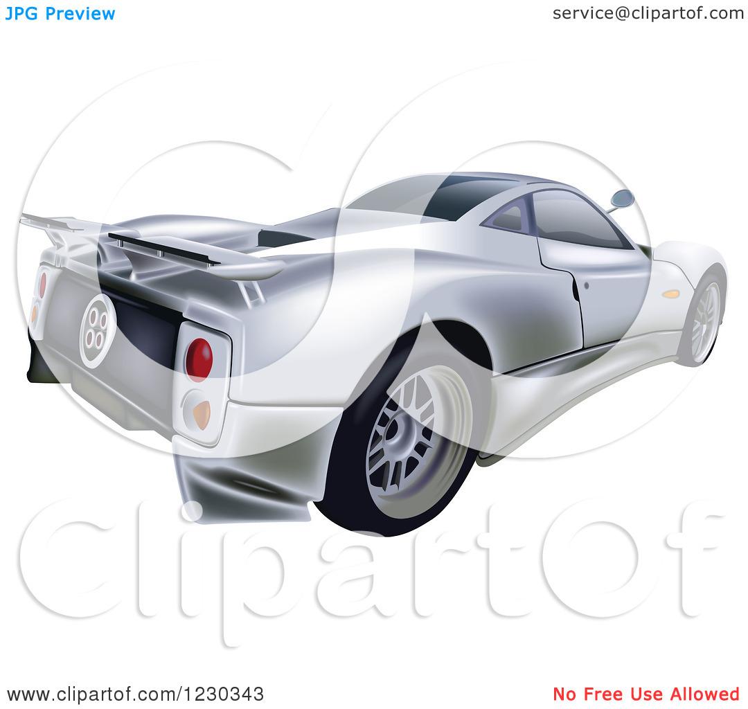 Clipart of a Silver Pagani Zonda C12S Sports Car.