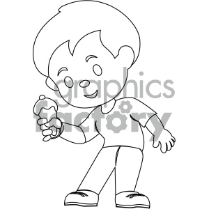 black and white coloring page boy eating ice cream vector illustration  clipart. Royalty.