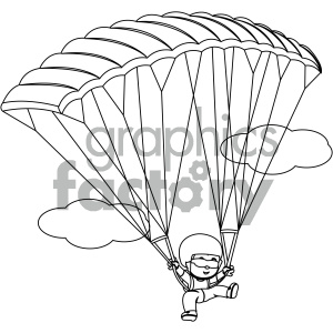 black and white coloring page boy skydiving vector illustration clipart.  Royalty.