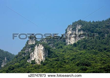 Stock Photo of China, Yangtze River, Three Gorges, Xiling Gorge.