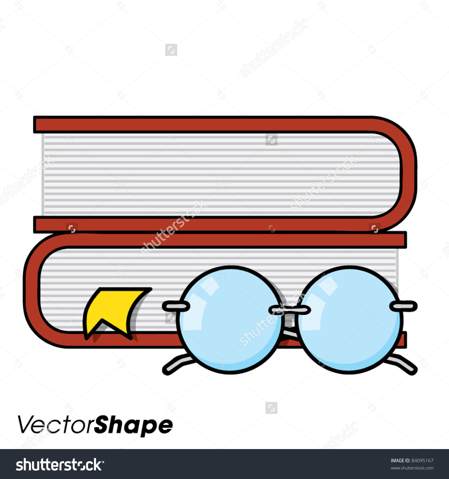 Pile Of Books With Page Markers And Reading Glasses, Vector.