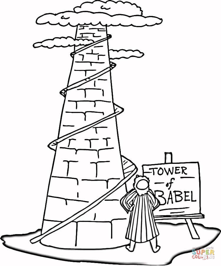 Tower of Babel coloring page.