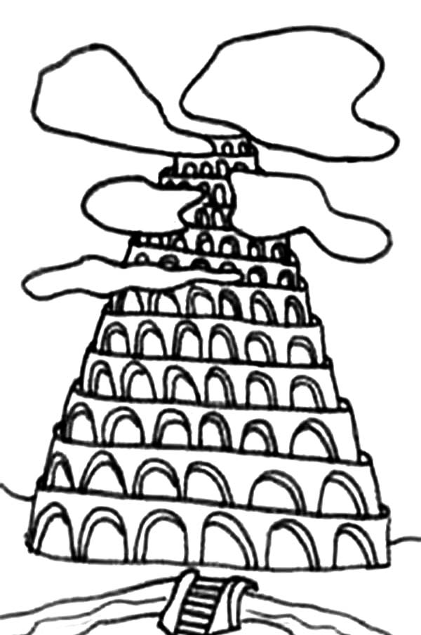 Printable Tower of Babel Coloring Pages.