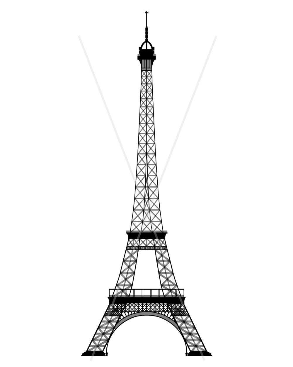 Eiffel Tower Coloring Page.