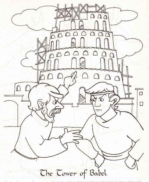 Coloring page tower of Babel.