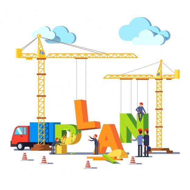 Negocio construcción sitio construcción palabra plan.