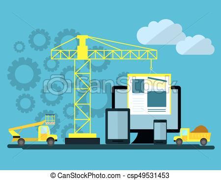 Diseño plano de página web bajo construcción, proceso de.