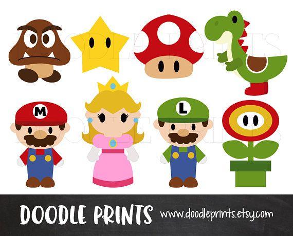 Mario Bros Clipart, Digital Clip Art Printable, Super Mario.
