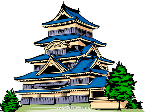 Japanese Pagoda Royalty Free Vector Clip Art illustration.
