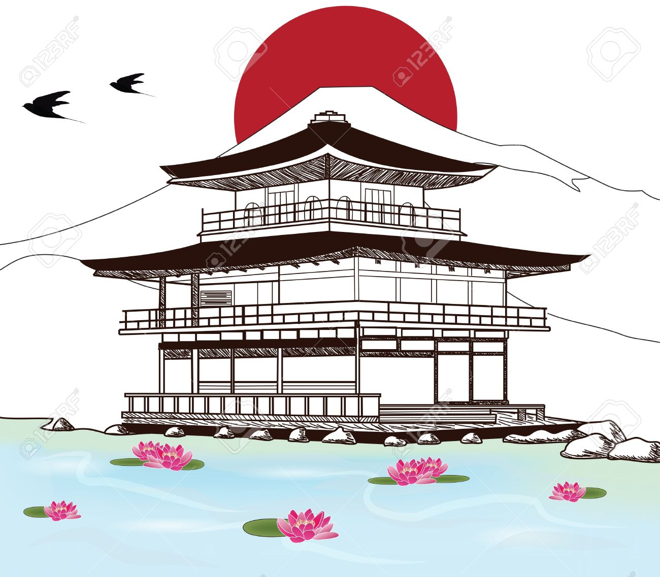 Sketch Of A Beautiful Japanese Pagoda Royalty Free Cliparts.