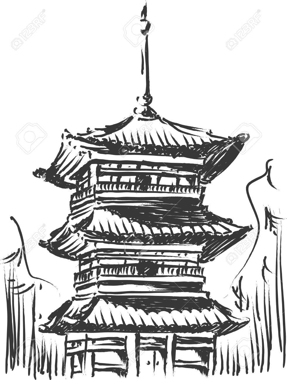 Sketch Of Japan Landmark.