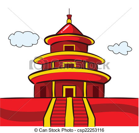 Vector Clip Art of Chinese Temple Pagoda csp22253116.