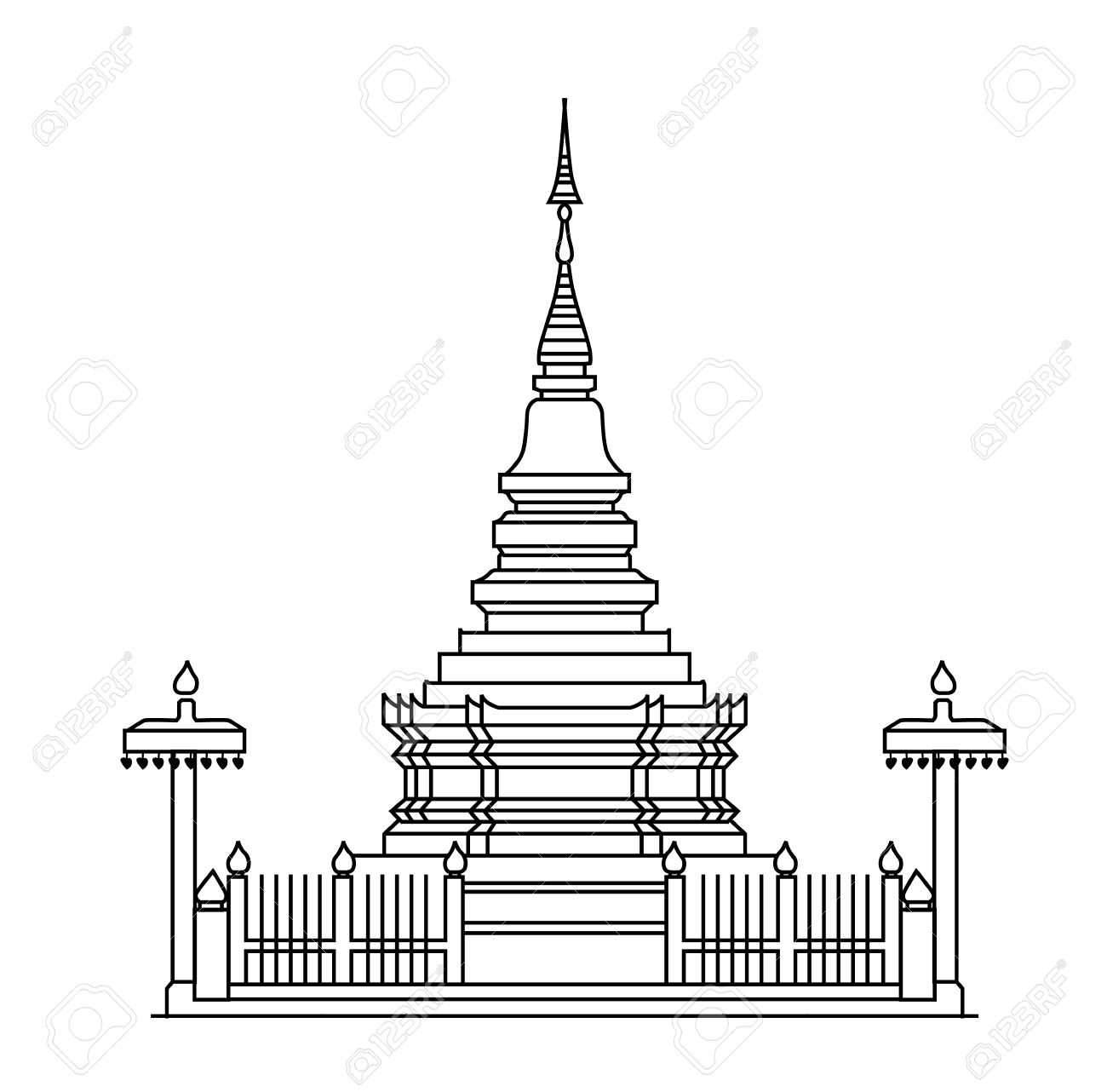 Buddhist Temple Clipart Black And White.