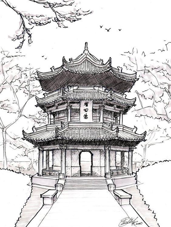 Pagoda Drawing.