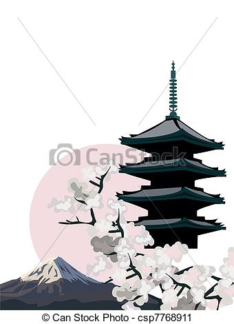 Vector Clip Art of Pagoda Temple.