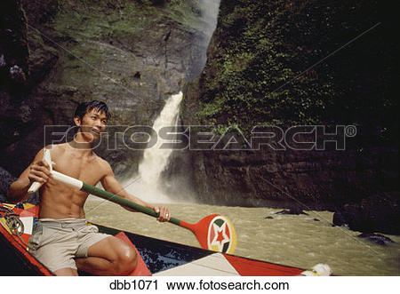 Stock Photography of Canoe guide, Pagsanjan Falls, Philippines.