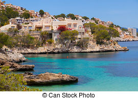 Stock Image of Cala Fornells View in Paguera, Majorca, Spain.