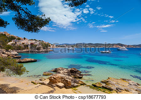 Stock Photographs of Cala Fornells View in Paguera, Majorca, Spain.