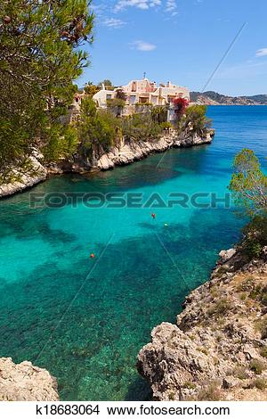 Stock Photo of Cala Fornells View in Paguera, Majorca k18683064.