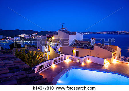 Stock Photography of Night in Paguera Village, Mallorca k14377810.