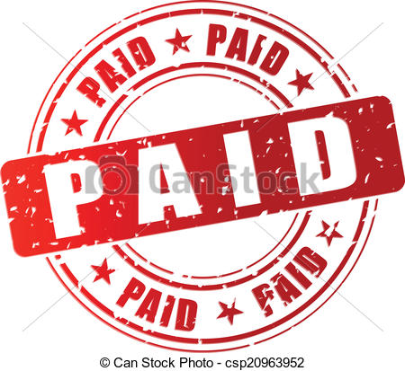 Vector paid stamp. Vector illustration of red paid stamp.