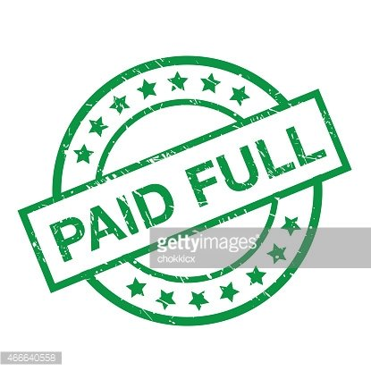 PAID FULL STAMP IN GREEN Clipart Image.