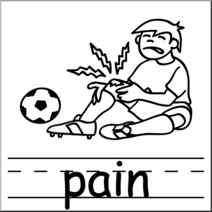 Clip Art: Basic Words: Pain B&W Labeled I abcteach.com.