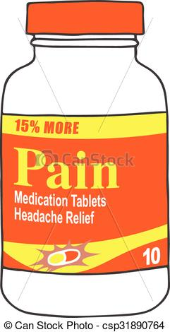 Clip Art Vector of Pain Medication Bottle for the Sick.