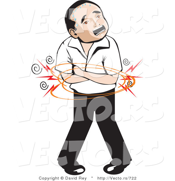 Vector of a Mexican Man with Painful Stomach Ache by David Rey.