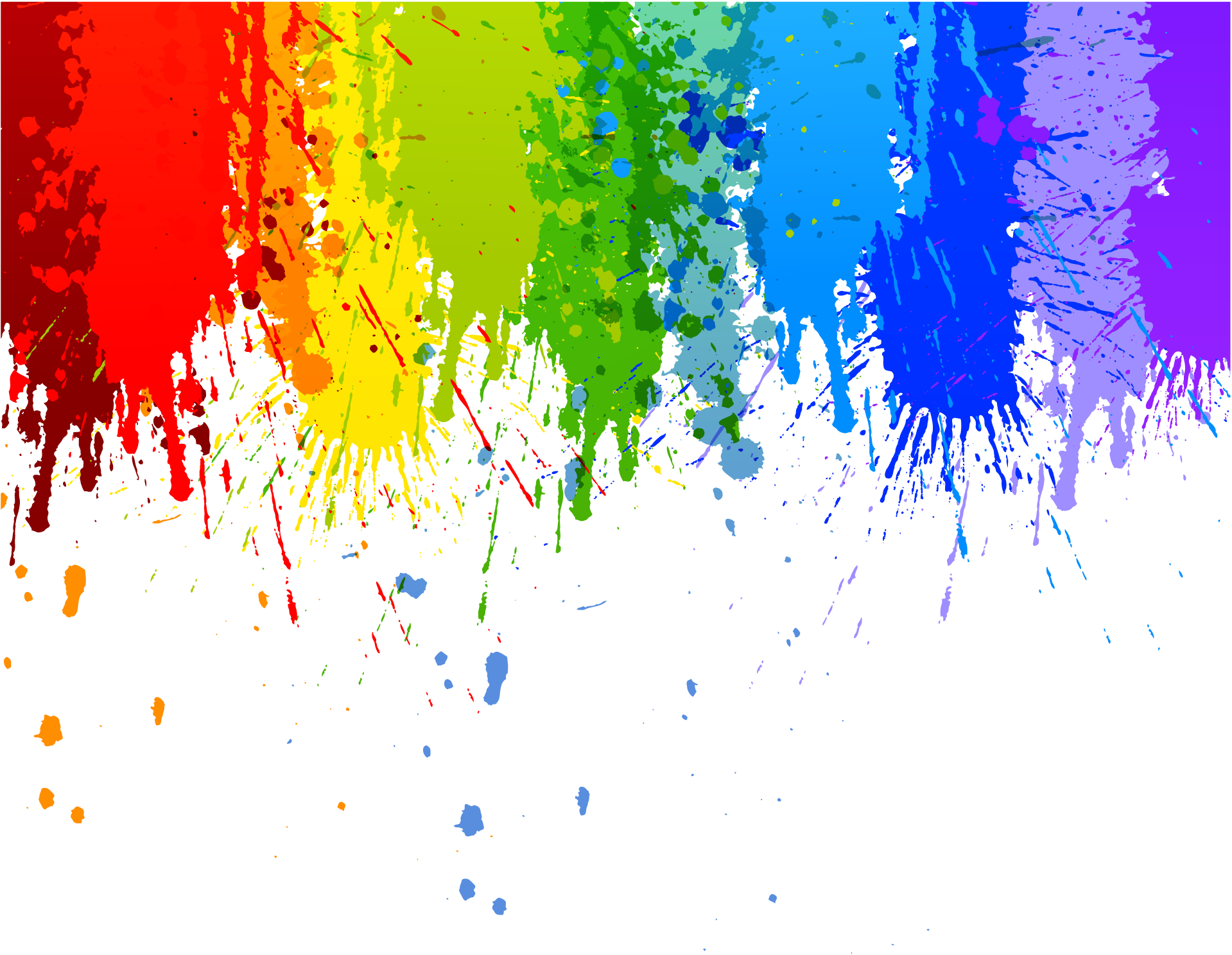 Rainbow Colour Splash Drip Transparent Background.