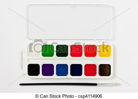 Stock Image of paint box and brush.
