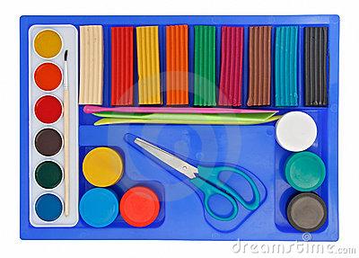 Creative Set Of Aquarelle Paint Box, Plasticine Royalty Free Stock.