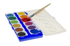 Used Water Color Paint Box Paint Brush Stock Illustrations.