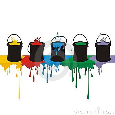Paint Boxes And Drops On A Wall Stock Photos.