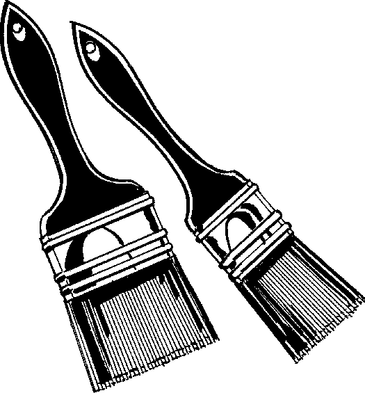 Paintbrush paint brush clip art black and white 2.