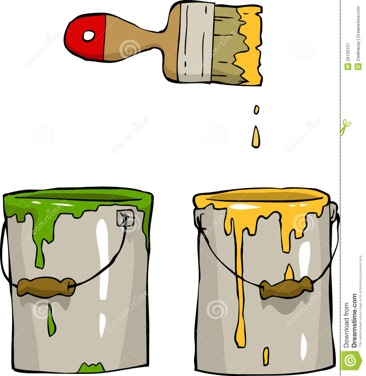 Paint Bucket And Brush Clip Art.