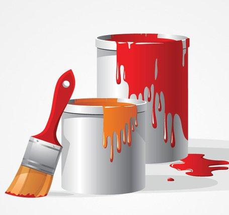 Paint Bucket & Brush Vector Clip Art (Free), Vector Graphic.