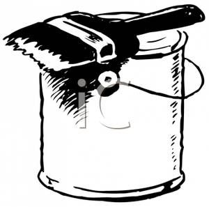 Black and White paint can with brush.