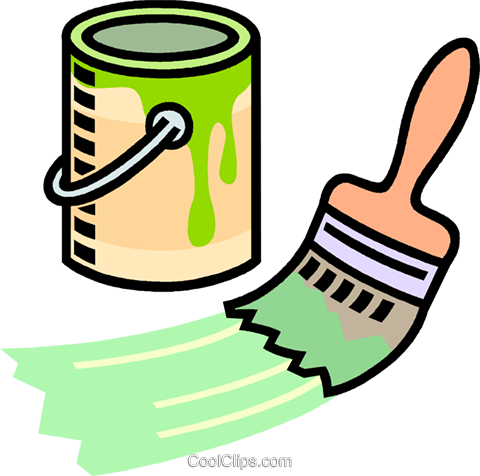 paint can, paint brush Royalty Free Vector Clip Art.