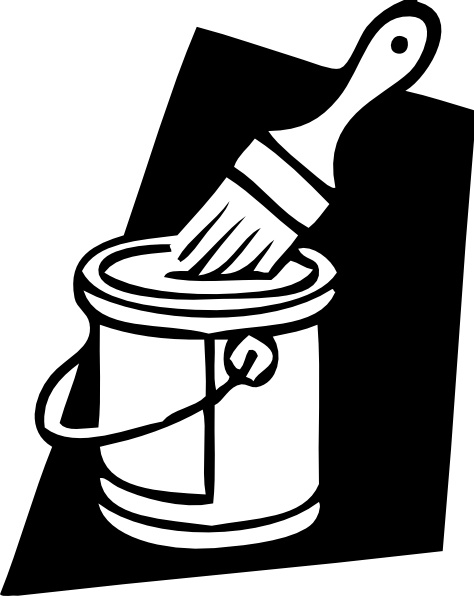 Paint Can And Brush clip art Free vector in Open office.