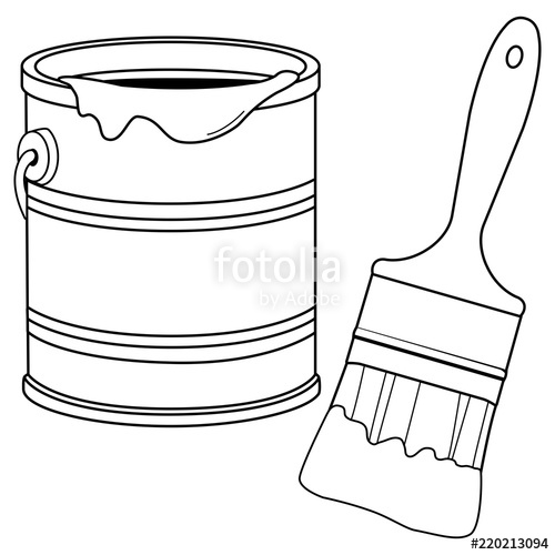 Paint bucket and a brush. Black and white coloring book page.