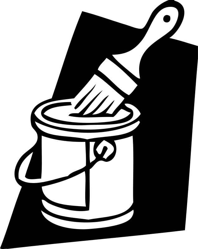 Free Clipart: Paint can and brush.