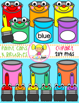 Paint Cans & Brushes Clipart.
