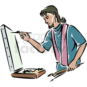 A Male Artist Painting on a Canvas Using Several Paint Brushes clipart.  Royalty.