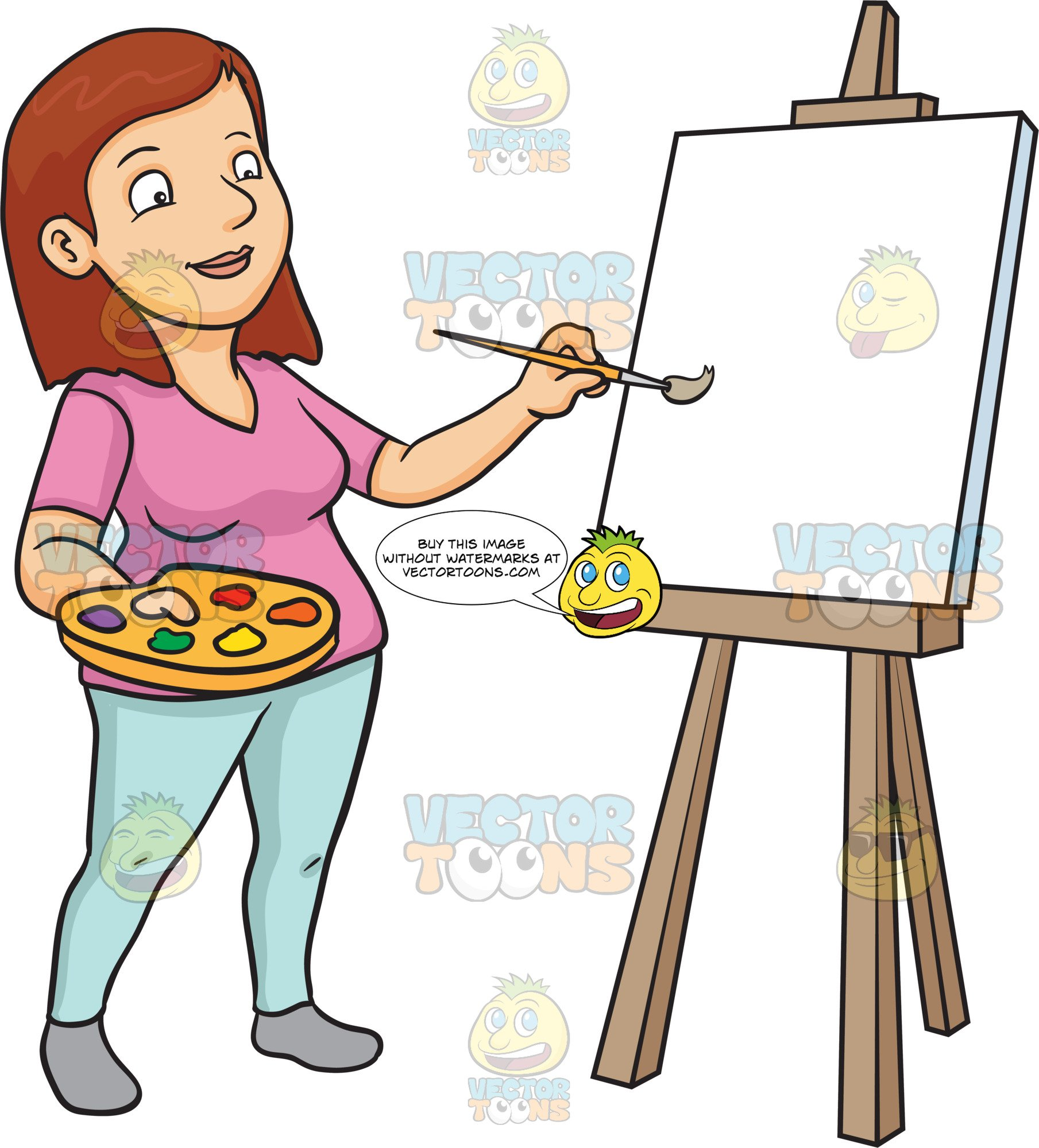 A Woman Painting On A Blank Canvas.