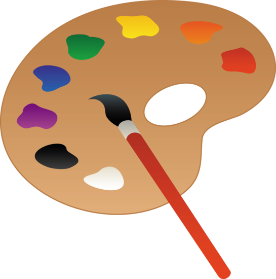 Clip art of a wooden art palette with paint and brush.