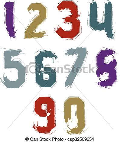 Clipart Vector of Bright hand painted daub numerals, collection of.