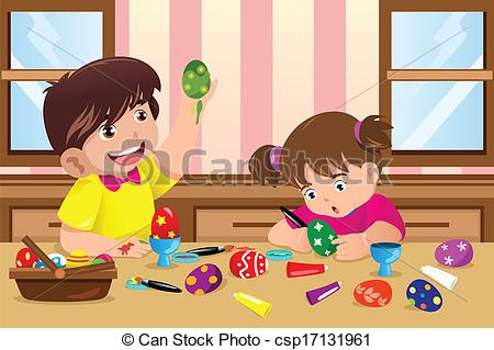 Clip Art Vector of Kids painting Easter eggs.