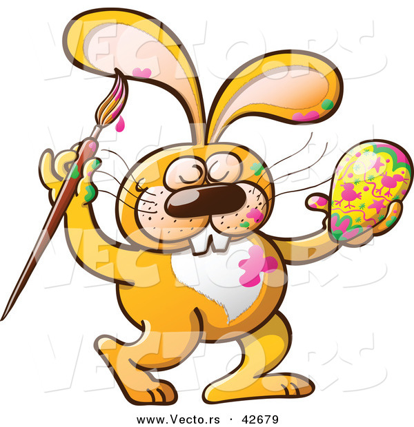 Vector of a Happy Cartoon Orange Bunny Rabbit Painting an Easter.