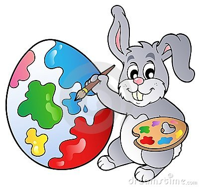 Easter Bunny Painting Eggs Clipart.